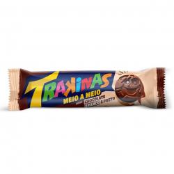 Biscoito Trakinas Recheado Meio/Meio Chocolate/Chocolate Branco 126G